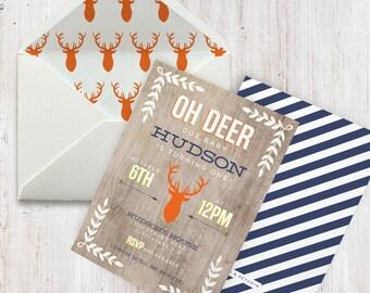 Oh Deer Birthday Invitation, Fall Birthday Party, First Birthday Invitation, Deer Birthday, Antlers, Autumn Birthday, Envelope Liners