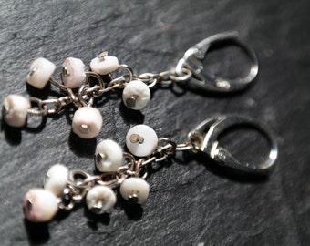 925 silver chain long earrings, raw silver leverback earrings, sterling silver white howlite earrings
