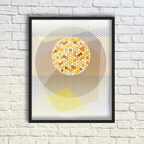 Honeycomb Art Print/ Colorful / Geometric Art / Abstract Art Poster / Modern Minimalist Art / 8X10 inches