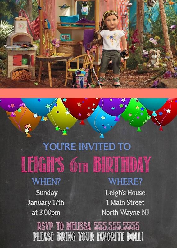 Lea Clark American Girl Doll Birthday Party Invite