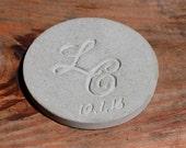 """Concrete coaster custom monogram date 3.5"""""""