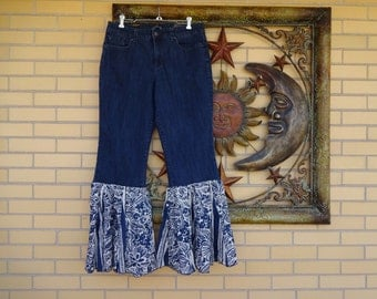 Upcycled Womens Bell Bottom Jeans size 12