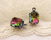 Rivoli Carved Iridescent Vitrail 10x8mm Octagon Rhinestone DROPS in Antiqued Silver Ox Prong Settings Charms Rectangle - Pair