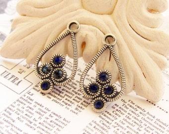 Antiqued Silver Ox Filigree & Montana Blue Swarovski Rhinestone Drops Earring Dangles Glass Gems - Pair