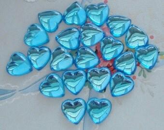 Vintage Aqua Blue Zircon Glass Heart Cabochons Flat Back Stones 13mm - 4