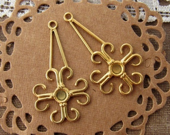 Art Deco Long Filigree Earring Dangles Raw Brass Stampings with 3mm Center Setting Pad - 4