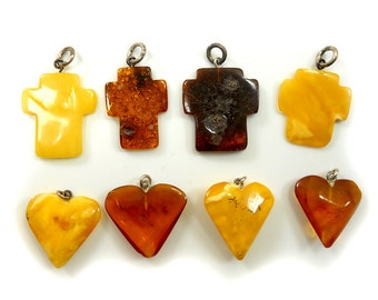 Hand Carved Amber Baltic CROSS & HERAT- Yellow - Honey - Cherry - size  L-slim -4pcs available