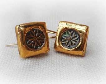 Daisy Earrings Glazed With 14K Gold And Gold-Filled Hook