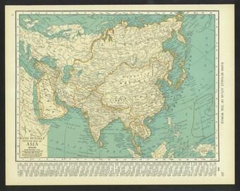 Vintage Map Asia Original 1921