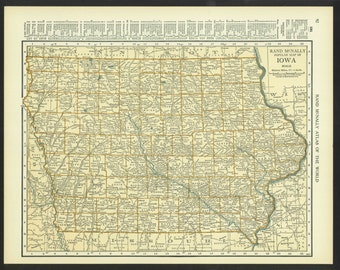 Vintage Map Iowa Original 1921