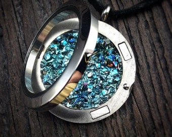 Bismuth Necklace Bismuth Crystal in a Stainless Steel Floating Locket Bismuth Geode Boho Jewelry by Element83 - Chemistry Gift Charm Science