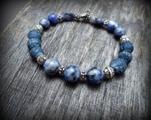 Sterling Silver and Blue Sodalite and Coral Boho Bracelet