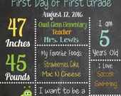 Chalkboard First Day of School Sign Blue Books