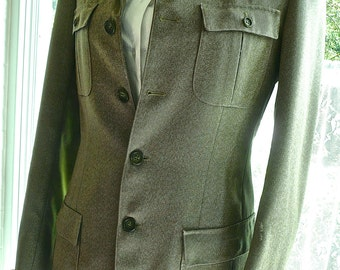 Vintage Jacket - Fall Green Jacket - Made In France - Wool Tweed Material -Army Green Jacket - Brest Pockets - Tailored Jacket - Army Style