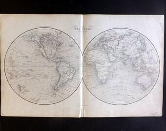 Chambers 1857 Antique Map. The World. Western & Eastern Hemisphere