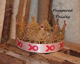 Ready to Ship- SALE -Breast cancer pink ribbon crown, baby girl crown, Gold crown, Crown, princess crown, photo prop crown, birthday crown