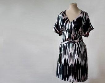 silk wrap dress, ikat dress, Uzbek dress, silk tunic, draped dress, surplus dress, handwoven silk, CUSTOM DRESS, black and white silk dress