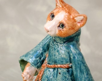 small ceramic cat figurine medieval lady OOAK