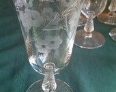 "Set of 7 Etched Glasses 10"" Elegant"