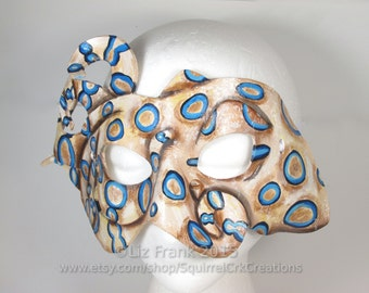 Blue Ringed Octopus Leather Mask, Animal Mask, Ocean Life, LARP garb, Theater Prop, Halloween Mask, Costume, cosplay