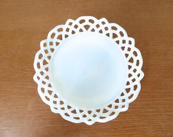 Lace edge, lattice edge decorative milk glass bowl