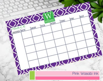 Custom Monthly Desk Calendar Personalized Desk Calendar Monogrammed Monthly Calendar Menu Planner Choose Colors