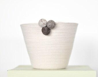 Coiled rope basket, Storage basket, Natural basket, Cotton rope, Sash rope, Cacti planter, Indoor plant pot, toy basket