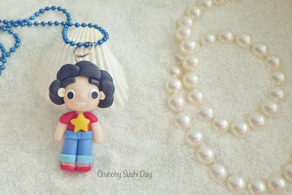Steven Necklace, Steven Universe, Polymer Clay Pendant, Necklace, Cosplay, polymer clay, clay pendant, Kawaii, doll, Chibi, Fanart