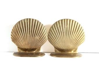 Brass Seashell Bookends Retro 80s Home Decor Beach House Nautical Decor