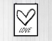 Minimalist Wall Art, BLACK WHITE Heart, Home Decor, Love Poster, Graphic Print, Printable quote, Heart poster, Geometric printable 0002