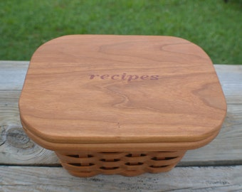 5 x 7 Recipe card box basket with lid Cherry Wood