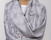 GRAY Extra Large Scarf. Silvery Large Shawl. New Season trendy pashmina long scarf wrap. Double sided.