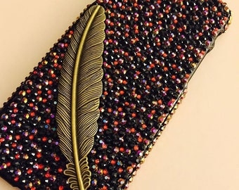 SALE Iphone 6 black red gold ab bling crystal vintage feather cell phone case