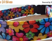 "Sale 50% Off Bright Multi Floral Dog Collar - ""Summer Flowers"" - NO EXTRA CHARGE for colored buckles"