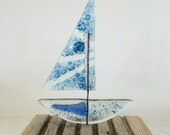Recycled glass sailing boat...