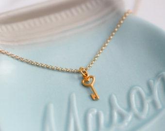 Heart Key Charm  Necklace - Key Charm Necklace - Heart Charm - Mini Key necklace - Mini Key Charm - Gold Key Charm - Gold Charm Necklace