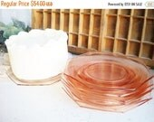 Sale Pink Depression Glass Plates Octagon Set of 7 Tea Party Wedding Home Decor Showers Holidays Modern Cottage Chic