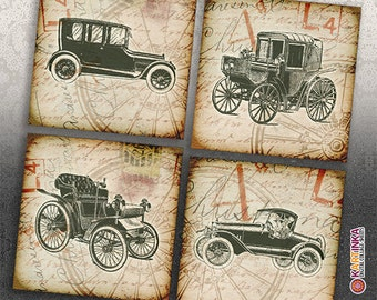 3.8x3.8 inch size images OLD CARS rintable Digital Collage Sheet for Coasters Greeting Cards Gift Tags Vintage Paper Craft Fathers Day
