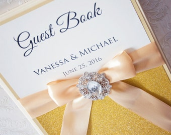 Wedding Guest Book - Personalized - ecru and gold - brooch / glitter