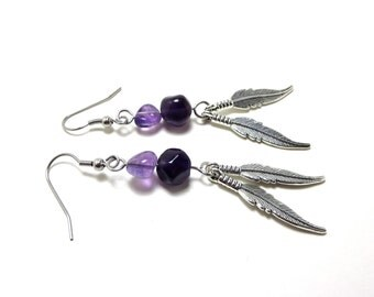 Amethyst Feather Earrings