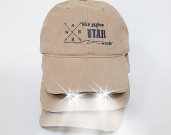 Hiking Utah National Parks Baseball Hat with built in Flashlight~ Utah Gifts~ Gift for Hiker~ Birthday Gifts for him~ Travel Gift