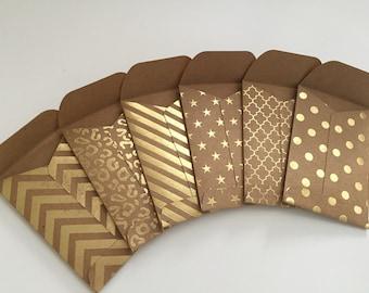 Mini Envelopes, Set of 12 Kraft Envelopes, Gift Card Envelopes, Kraft Envelopes, Tiny Envelopes, Gold Foil Envelopes, Business Card Envelope