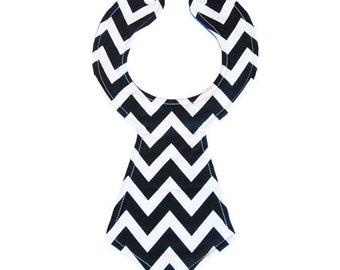 Black Chevron Baby Necktie Bib
