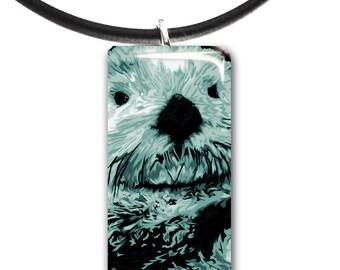 light mint green, Sea Otter pendant, hand painted unique artwork, Adorable Otter, Glass tile penant, mint green