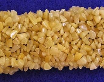 Yellow Jade Gemstone Bits Stretch Cuff Bracelet