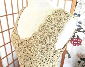 Vintage 50s Raffia Dress with V Neckline in Ecru Made in Italy