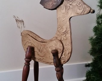 Christmas in July Reindeer Christmas Decor, Recycled Wood Sculpture,  Repurposed One of a Kind. Vintage Look Deer Distressed Gold Finish