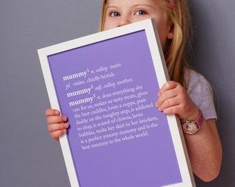 Mummy Dictionary Print -Mummy Definition Print - Mummy Gift - Custom Mummy Print - Mum Print
