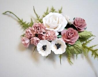 Pink Hair Clip, Bridal Hair Clip, Pink Wedding, Bridal Hairpiece, Floral Clip, Flower Girl Hair, Boho Wedding, Bridal Hair Accessory
