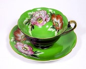 Occupied Japan Teacup and Saucer Grass Green and Black Floral